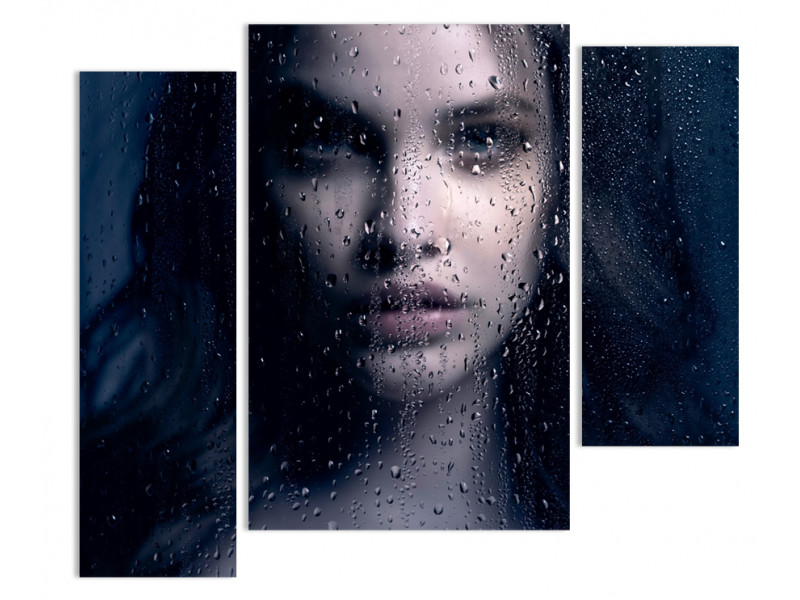 "Модульная картина - ""Девушка за запотевшим окном"""