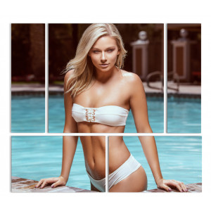 "Модульная картина - ""Блондинка и бассейн"""