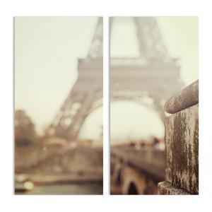 "Модульная картина - ""Эйфелева башня в тумане"""