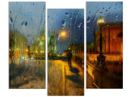 """Модульная картина - """"Дождь и тишина"""""""