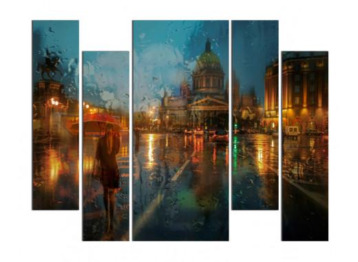 """Модульная картина - """"Дождливые улицы"""""""