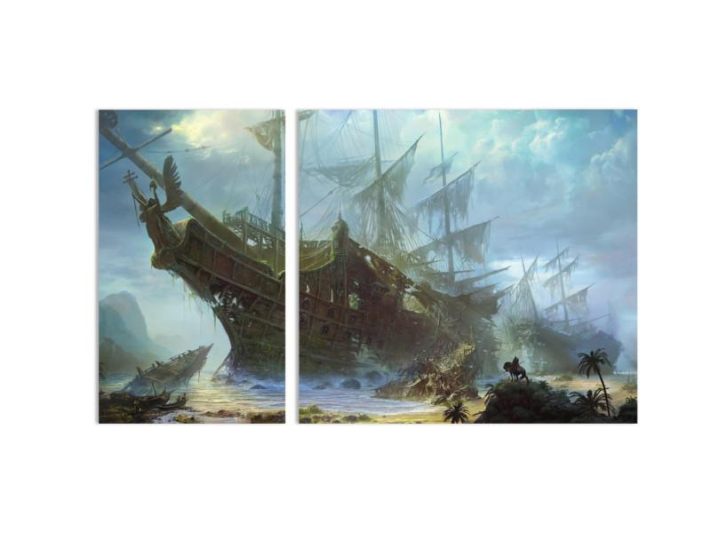 """Модульная картина - """"Кладбище пиратских кораблей"""""""
