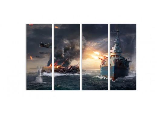 """Модульная картина - """"Война на больших водах"""""""