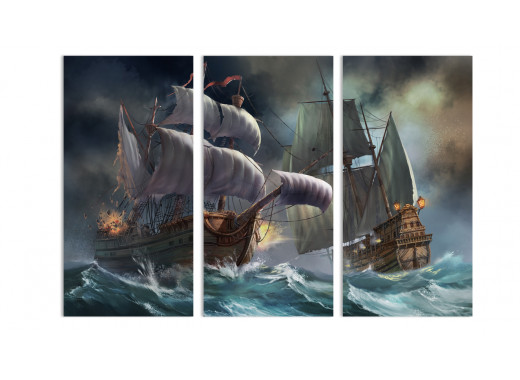 """Модульная картина - """"Бой в шторм"""""""