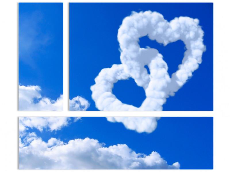 """Модульная картина - """"Облака в виде сердец"""""""